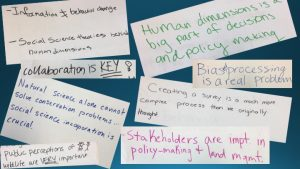 Visual representation of lessons learned from HD students. 1)Collaboration is key! 2) Stakeholders are impt. in policy-making and land management 3)HD is a big part of decisions and policy making 4)Biased processing is a real problem 5) Natural science alone cannot solve conservation problems..social science incorporation is crucial